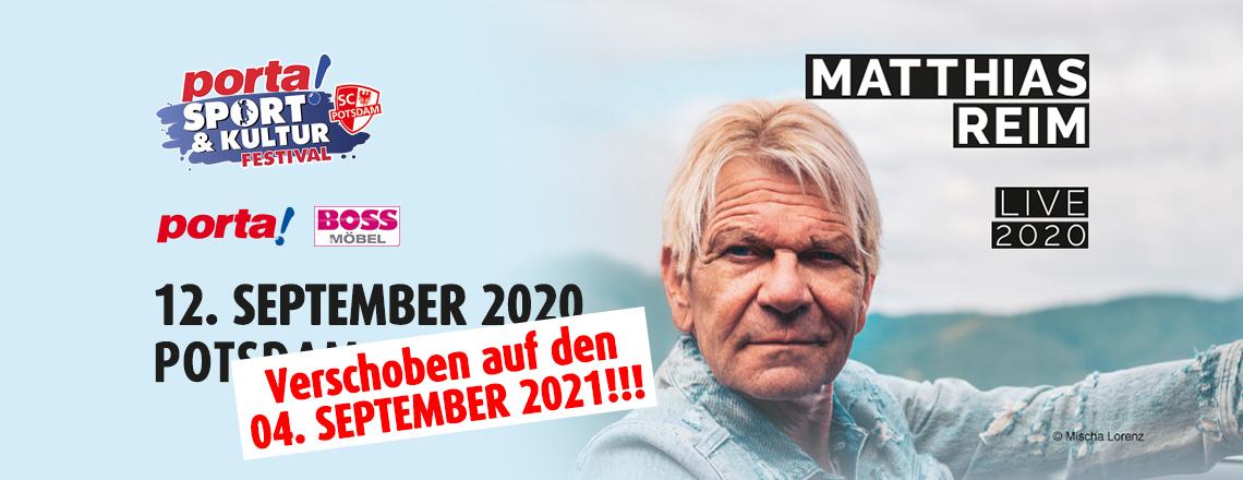 Matthias Reim Konzert wird auf den 04.09.2021 verschoben!
